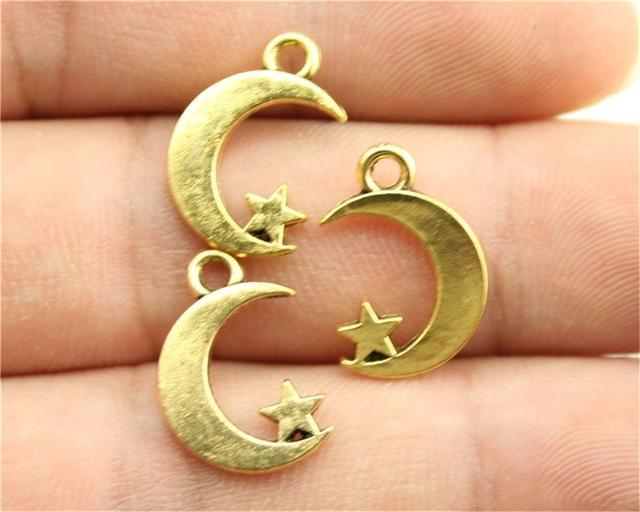 12pcs  Moon And Star Charms - mobile-boutique.com