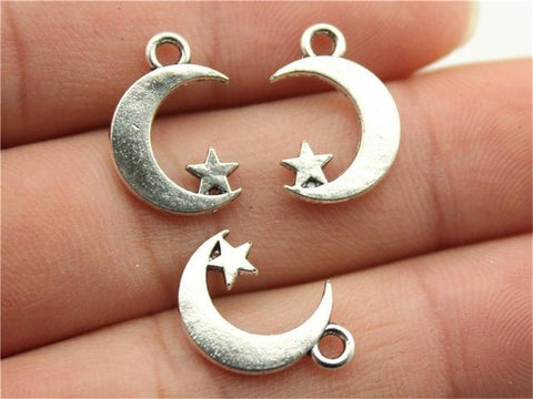 12pcs  Moon And Star Charms