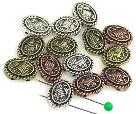 14 amazing Textured 2 Hole Slider Beads 11139