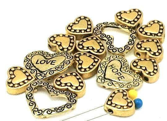 15 heart gold 2 hole beads beads B109-H12
