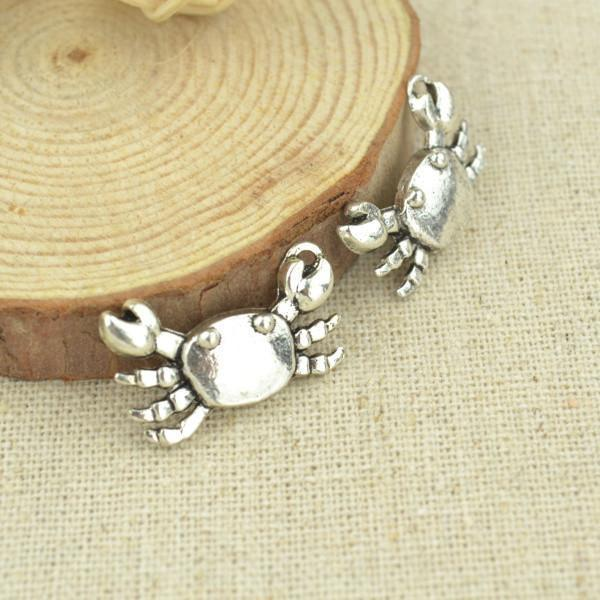 15_pcs_23*14_mm_Antique_Silver_Crab_Charms