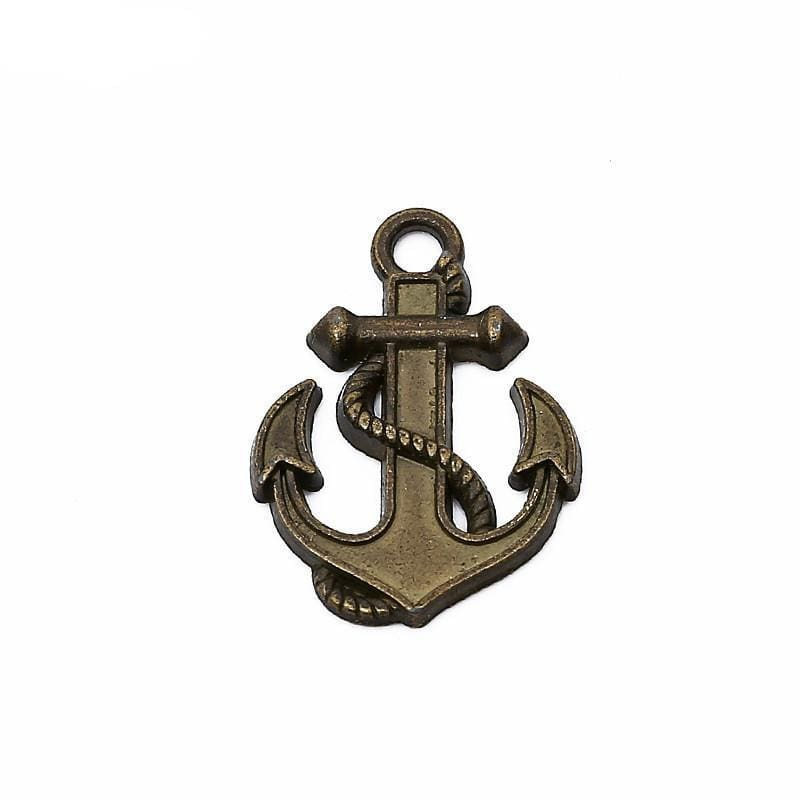 15 pcs antique bronze color anchor charms diy 26*19 mm