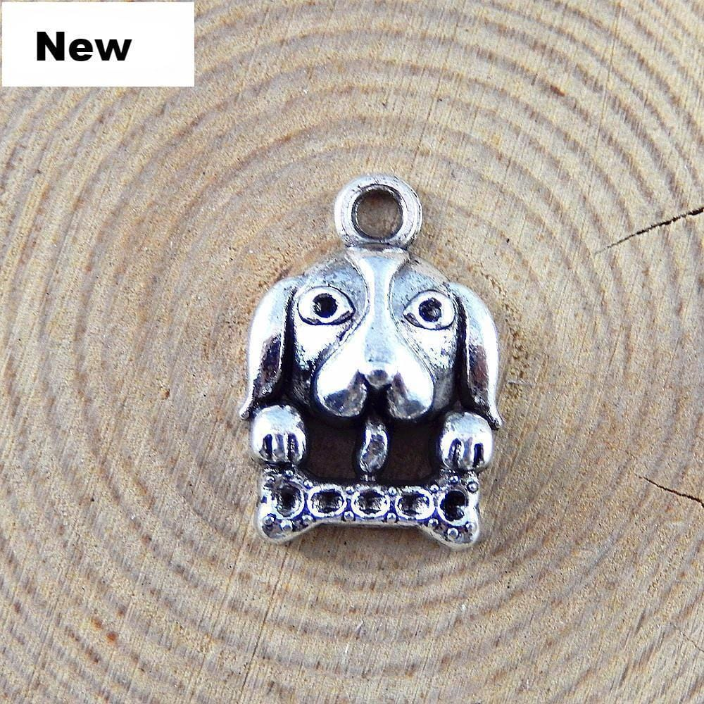 15 PCS Antique Silver Small Dog Charms