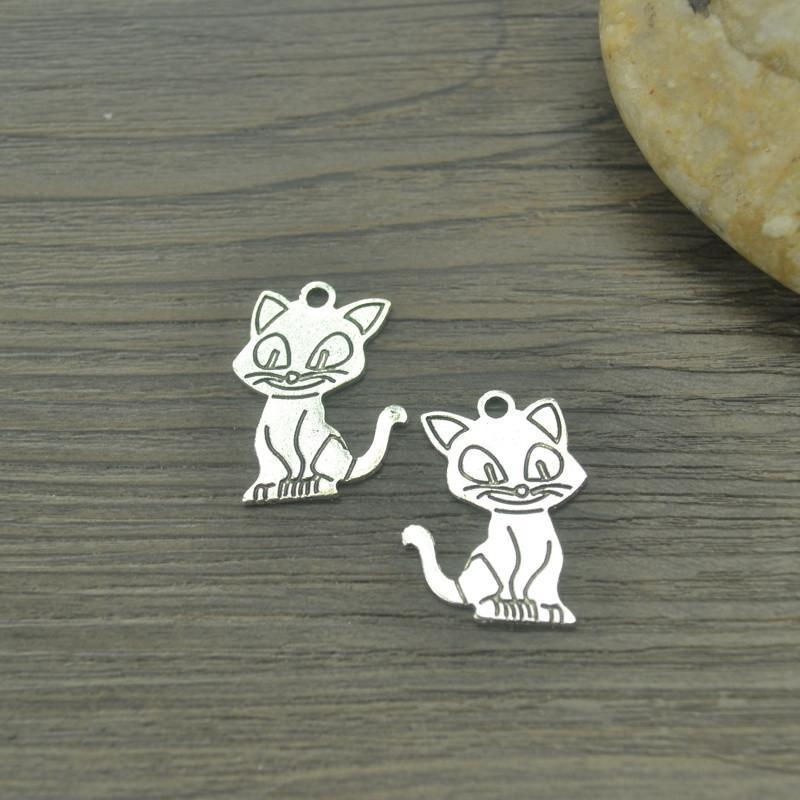 15 pcs Detailed Cat Charms   24*17mm