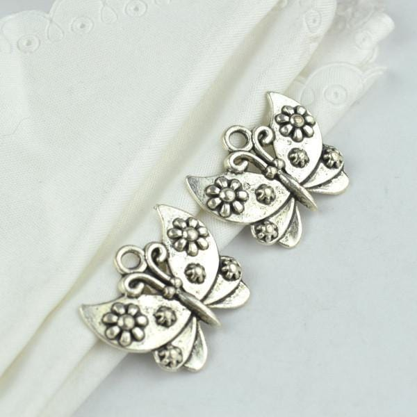 15 Pcs metal butterfly Charm  antique silver charms