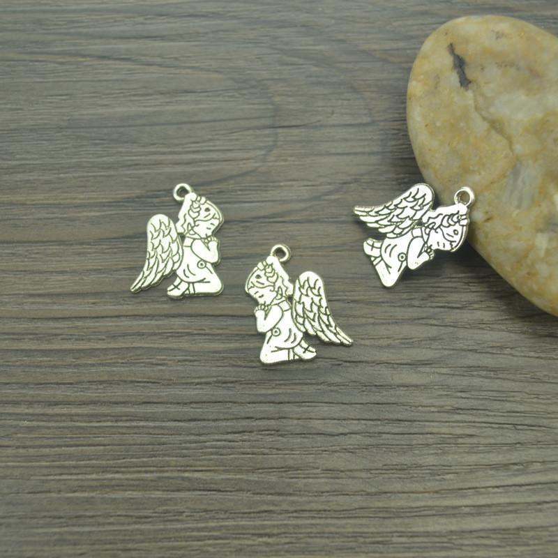 15_pcs/lot_angel_Antique_Silver_Kneeling_Angels