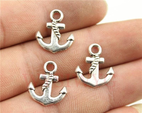15pcs Antique Silver Color Anchor Charms