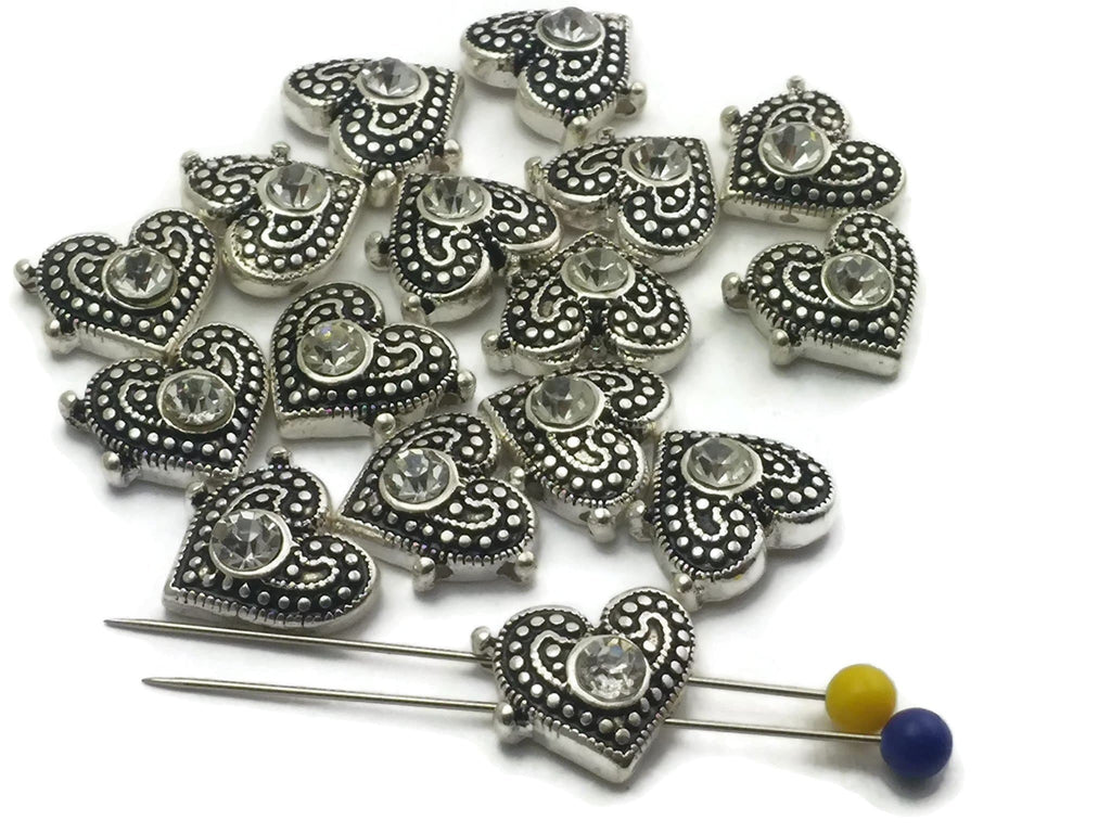 16 Bright Silver with Clear CZ Rhinestone Heart 2 Hole Slider Beads M5