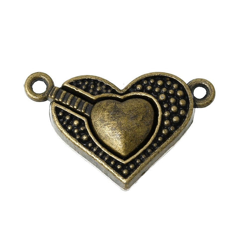 2 Magnetic Clasps Heart Antique Bronze 25mm x 16mm
