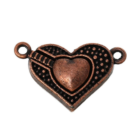 2 sets Magnetic Clasps Heart Antique Copper 25mm x 16mm