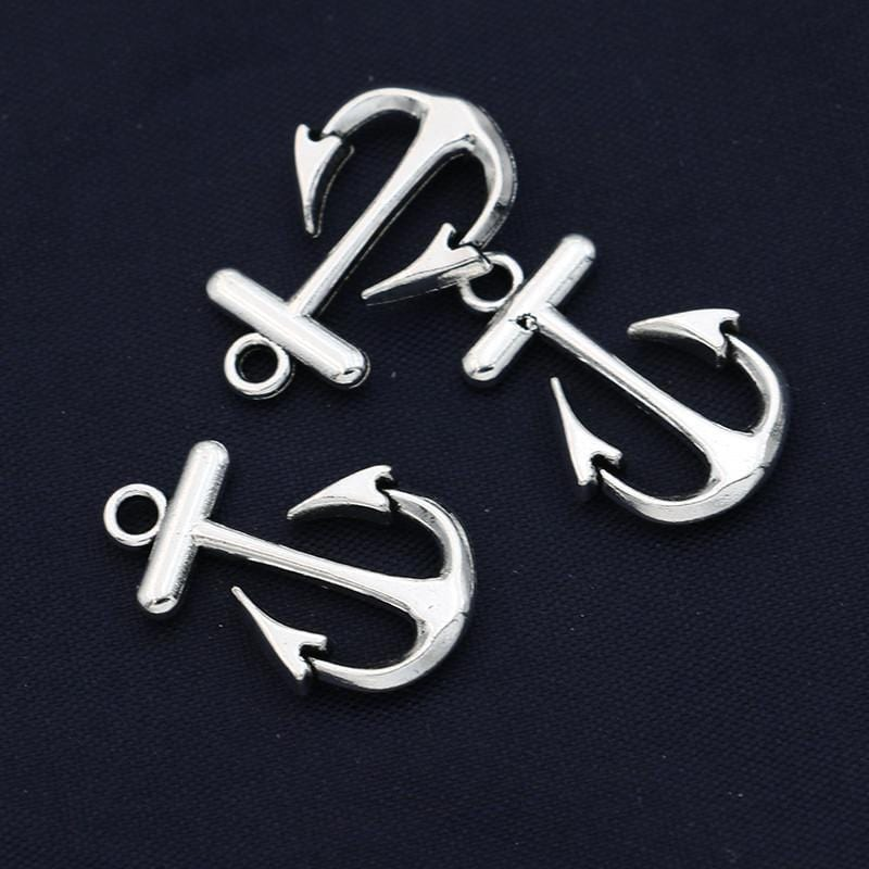 20 Antique Silver Plated Zinc Alloy Anchor Charms  23 x 15