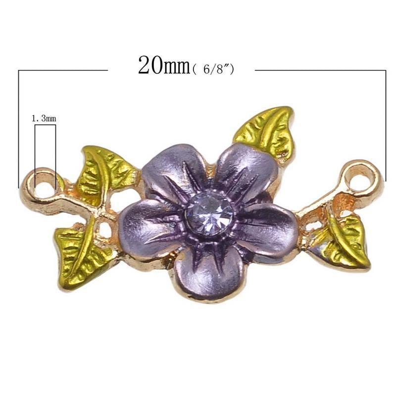 20 Metal Charm Connectors Rhinestone Flower Leave 20mmx13mm