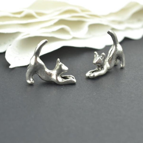 20 pc of antique silver 3D Cat Charms