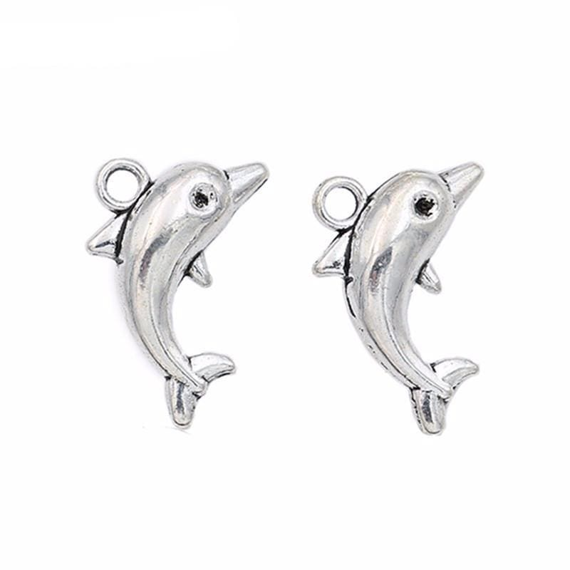 20 pcs Antique Silver Plated Dolphin Charms 18x12mm