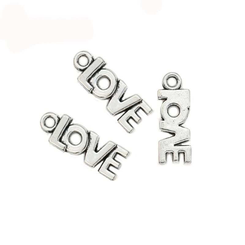 20 pcs of Love Charms Great for Layering  21x8mm