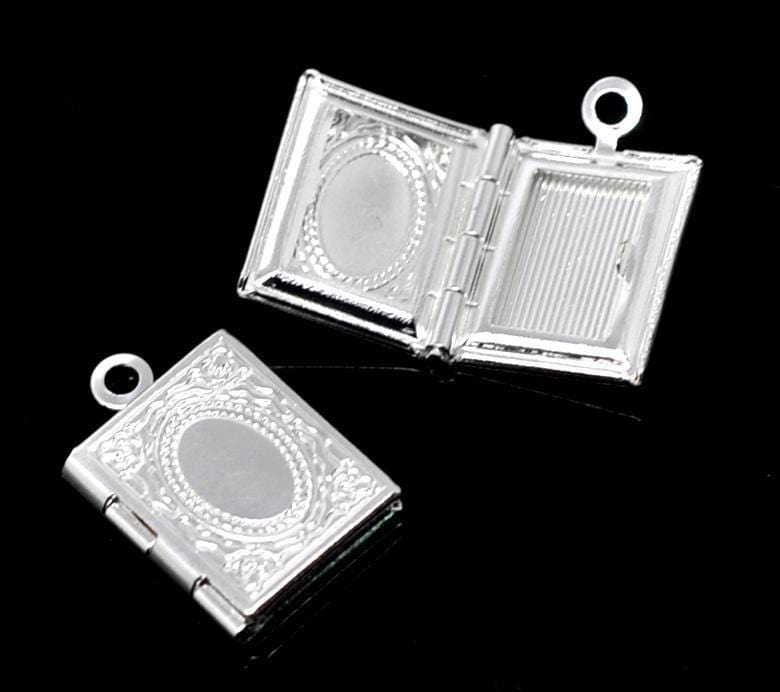 20 PCs Silver Pendant Charm  17x12mm Openable