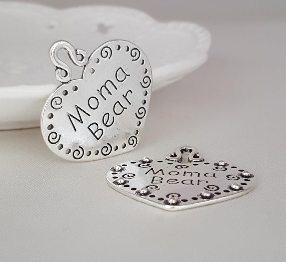 20_pcs/lot_35*38mm_Antique_Silver_with_the_words_Moma_Bear_on_them