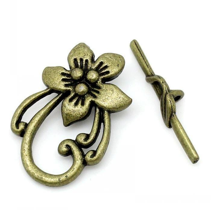 20_Toggle_Clasps_Flower_Antique_Bronze_2x3cm_3x0.6cm