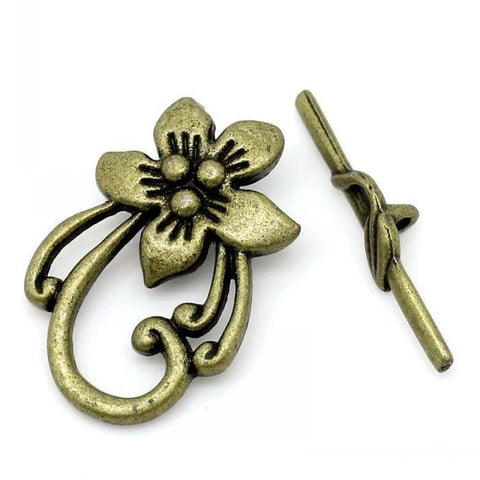20 Toggle Clasps Flower Antique Bronze 2x3cm 3x0.6cm