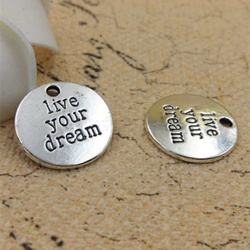 20mm_Live_your_dream_Silver_Round_Disc_Charms