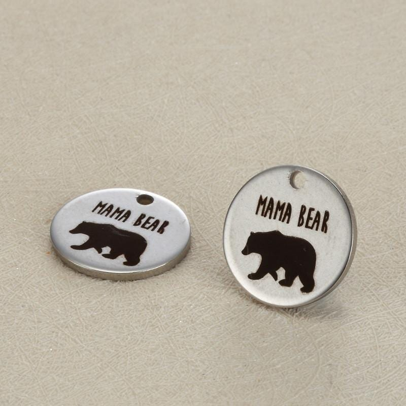 20pcs  15mm MAMA BEAR Stainless Steel Charms