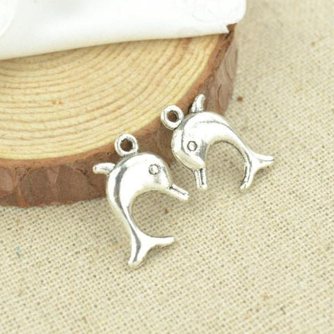 20pcs Antique Silver Dolphin Charms 8*13mm