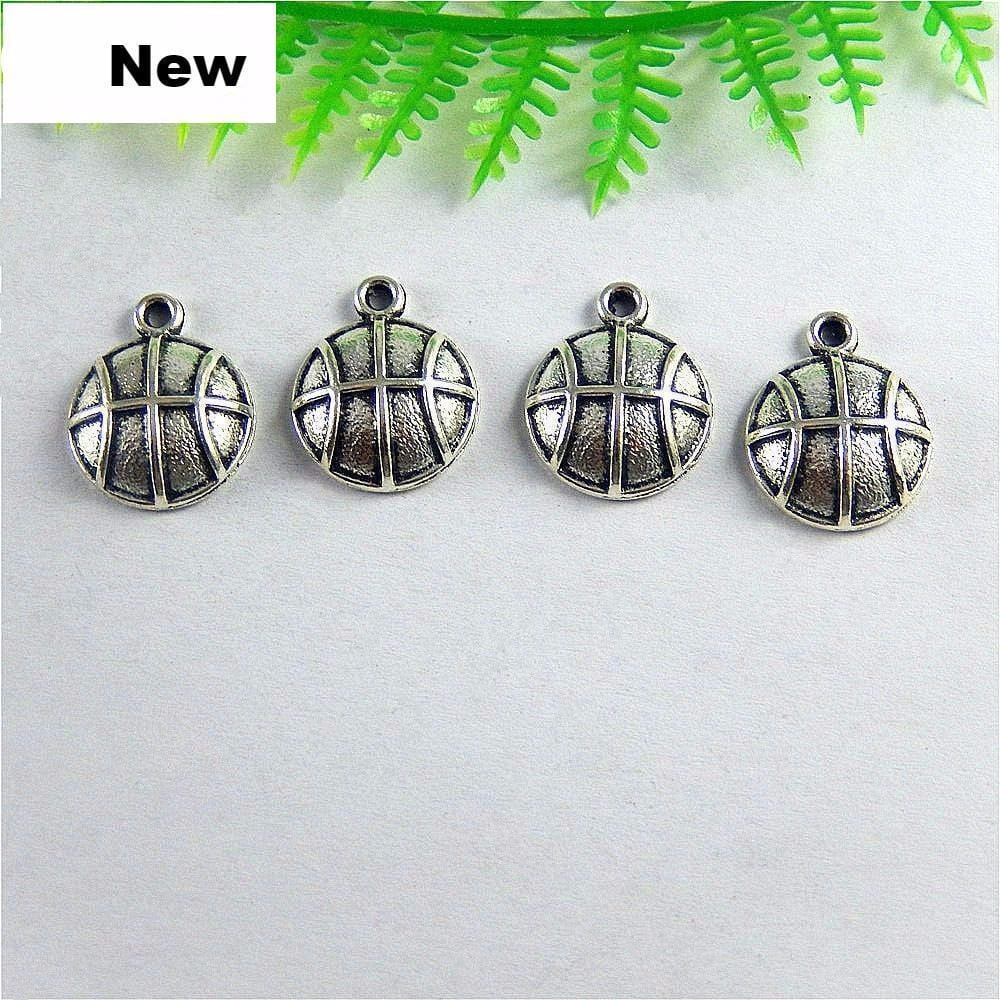 20PCS  Antique Silver Single Basketball Charms