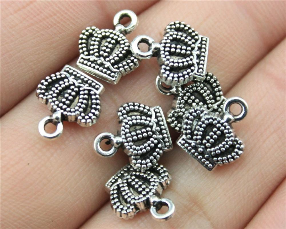 20Pcs  Vintage Antique Silver Color Crown Charms