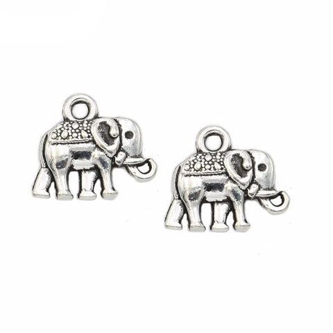 25 pcs Antique Silver Plated Animals Elephant Charms Pendants  12x14mm