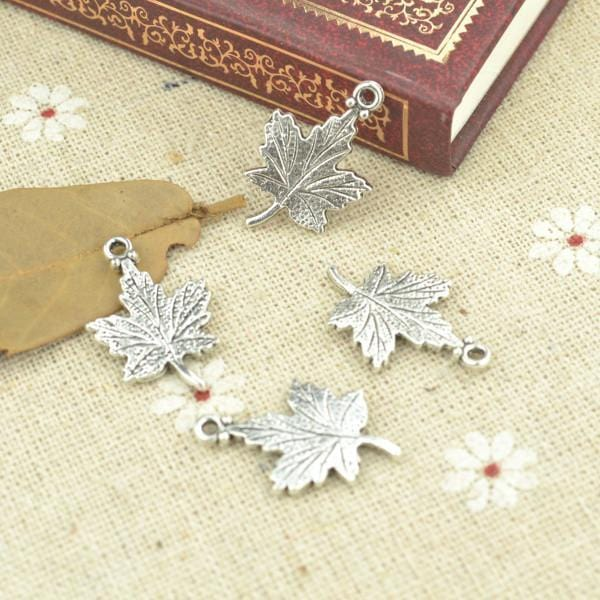 25 Silver Plated tree leaf Charms 23*15mm