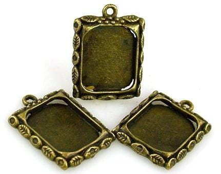 3  antique gold charm photo charm bead 7202-BOX 4