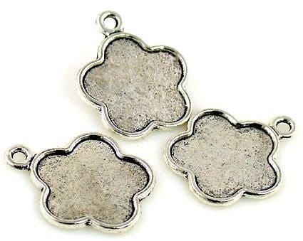 3 blank charms silver pendant resin blanks picture frames 6541-M8