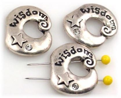 3 pewter Wisdom 2 hole slider beads 10110-N8