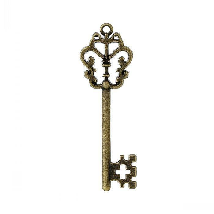 30 Key Antique Bronze Hollow charm , 5.7cm x 18.0mm