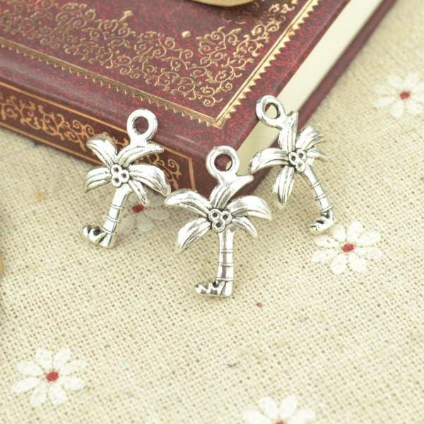30 pcs alloy Antique silver Palm Tree Designs 22*16 mm