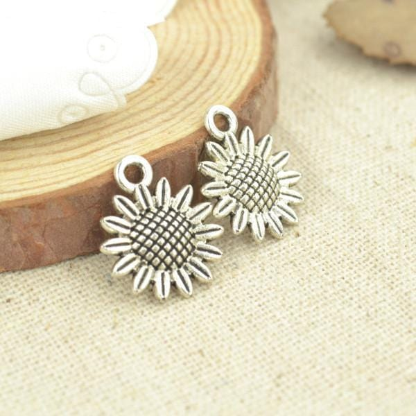 30 Pcs Antique silver Sunflower Charms 18*15 mm