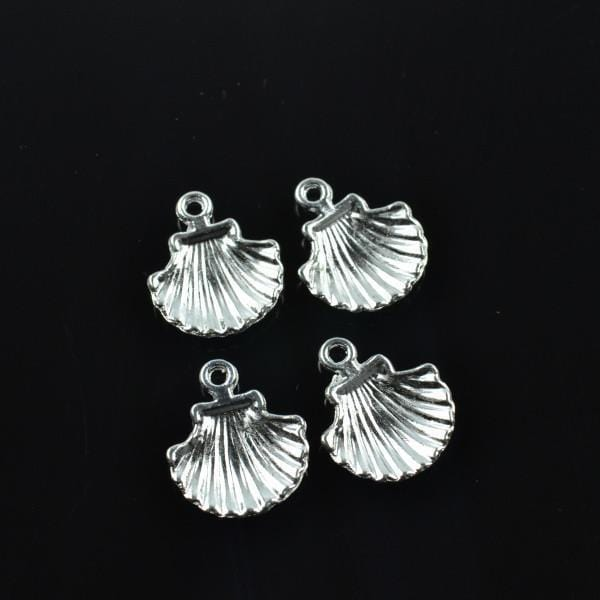 30 pcs Silver Plated shell Charms 18*15mm