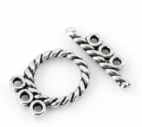 "30 Sets Platinum Silver Toggle Clasps 3 Strand  16x12mm(5/8""x4/8"") 18x5mm(6/8""x2/8"")"