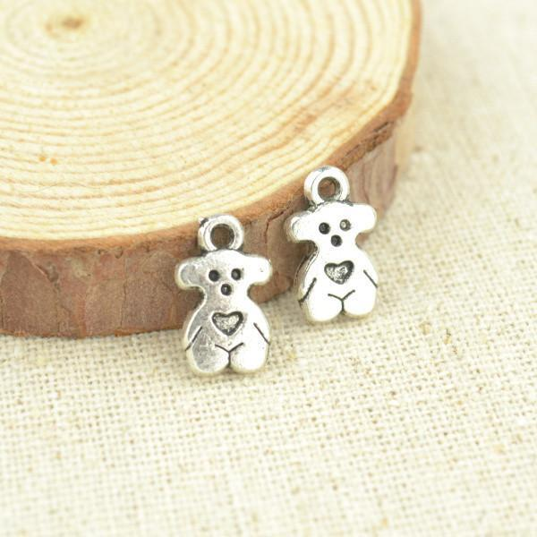 35 pcs 14*8 mm Small heart bear charms in Antique Silver