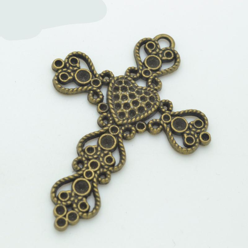 3pcs antique bronze plated Crosses charms 67*49mm
