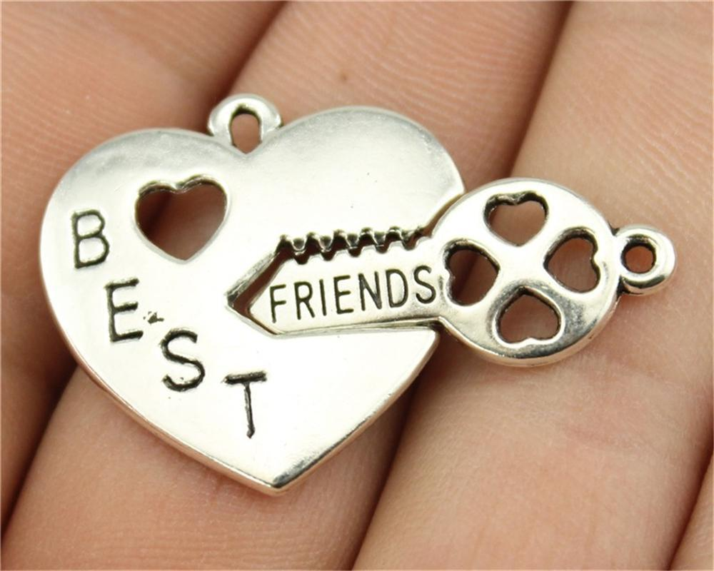 3Pcs  Best Friend Heart Key Charms