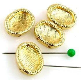 4 bright gold textured 2 hole slider beads 10374-M8