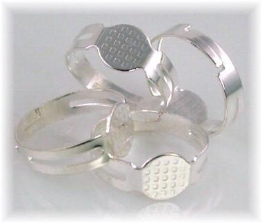 4 Bright Silver expandable ring blanks 6114-CL2