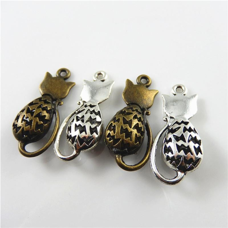 4 PCS Cast in Antique Gold and Antique Silver Hollow Cat Charms