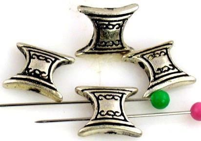 4 pewter art deco bow tie 2 hole slider beads 9956-H15