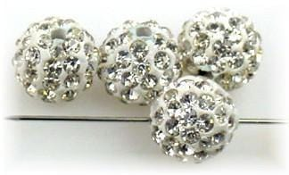 4 rhinestone resin ball beads 10150-R1