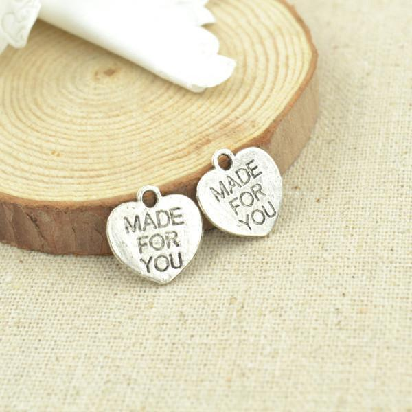 "40 pcs 25*15 mm ""Made for you"" charms Great for Handmade"