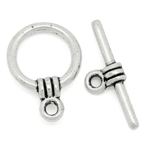 40Sets Silver Clasps Ring 11x15mm
