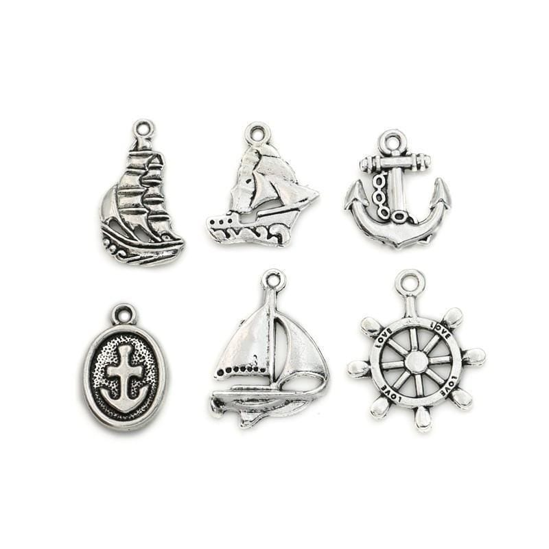 42 Antique Silver Sail Boats Wheels Nautical Style Charms