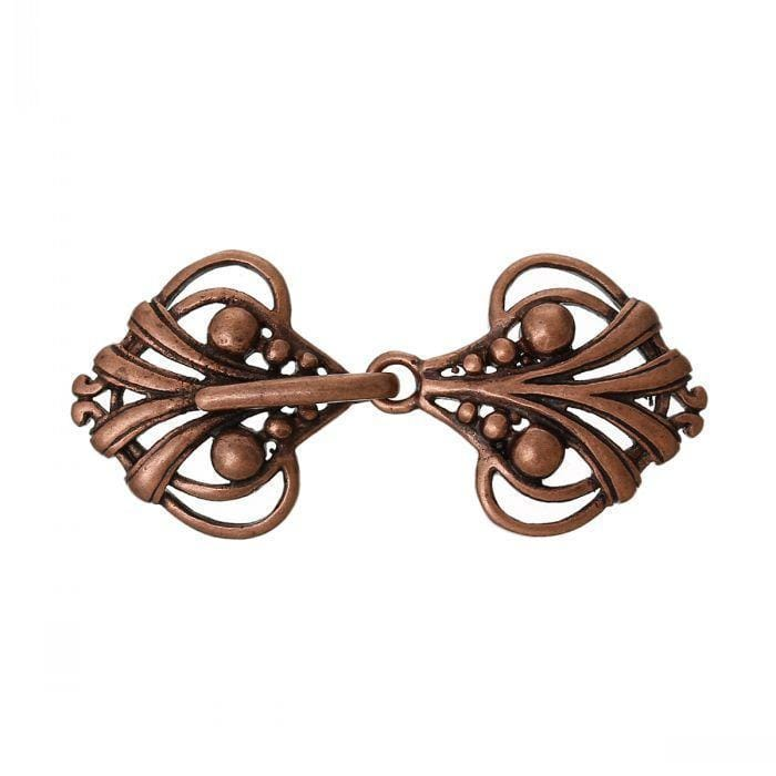 "5 Antique Copper Charm Sweater Clasps Heart Antique Copper Hollow 4.6cm x 2.1cm(1 6/8"" x 7/8"")"